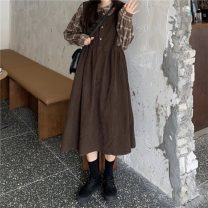 Dress Autumn 2020 Plaid shirt, deep coffee Average size Long sleeves commute High waist A-line skirt routine 18-24 years old Korean version 31% (inclusive) - 50% (inclusive)