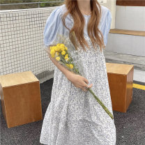 Dress Summer 2021 Yellow jacket, blue jacket, yellow floral skirt, blue floral skirt Average size Mid length dress Two piece set Sleeveless commute V-neck Broken flowers Socket Ruffle Skirt camisole 18-24 years old Type A Korean version 31% (inclusive) - 50% (inclusive)