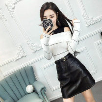 Dress Spring of 2018 S M L Short skirt Two piece set Long sleeves commute One word collar High waist Solid color zipper One pace skirt routine Others 18-24 years old Type X Shu Yu Korean version Ruffle zipper More than 95% brocade polyester fiber Other polyester 95% 5% Pure e-commerce (online only)