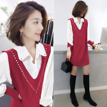 Dress Winter 2020 gules S M L XL Mid length dress Two piece set Long sleeves commute square neck Loose waist other Socket A-line skirt routine Others 30-34 years old bobowaltz Korean version BA204v06116p 81% (inclusive) - 90% (inclusive) nylon Polyamide 85% polyester 15% Pure e-commerce (online only)