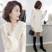 Dress Winter 2020 Beige S M L XL Mid length dress singleton  Long sleeves commute Crew neck Loose waist Solid color Socket A-line skirt routine Others 30-34 years old bobowaltz Korean version BA204v06074p 81% (inclusive) - 90% (inclusive) nylon Polyamide 85% polyester 15%