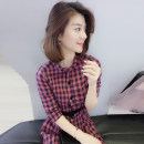 Dress Autumn of 2019 Red purple S M L Mid length dress singleton  elbow sleeve commute Crew neck High waist lattice Socket other routine Others 30-34 years old bobowaltz B182k04723p0140 81% (inclusive) - 90% (inclusive) other polyester fiber Polyester 85% polyamide 15% Pure e-commerce (online only)