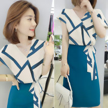 Dress Spring 2021 Color matching S M L XL Mid length dress singleton  Long sleeves commute High waist routine Others 30-34 years old bobowaltz Korean version B192y05742p01011 81% (inclusive) - 90% (inclusive) polyester fiber Polyester 85% other 15% Pure e-commerce (online only)