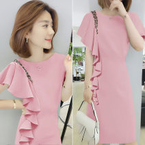Dress Summer 2021 Pink yellow green S M L XL Mid length dress singleton  Short sleeve commute Crew neck High waist Solid color Socket other other Others 30-34 years old bobowaltz 81% (inclusive) - 90% (inclusive) other polyester fiber Polyester 85% polyamide 15% Pure e-commerce (online only)