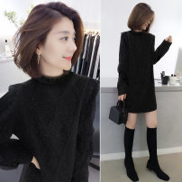 Dress Winter 2020 black S M L XL Mid length dress singleton  Long sleeves commute Crew neck Loose waist Solid color Socket A-line skirt routine Others 30-34 years old bobowaltz Korean version BA204v06257p 81% (inclusive) - 90% (inclusive) nylon Polyamide 85% polyester 15%
