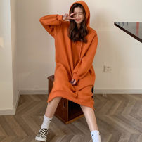 Dress Winter 2020 Orange red black Average size longuette singleton  Long sleeves commute Hood Loose waist Solid color other other routine Others 18-24 years old Love of Yi Sheng Xiang Korean version CL498 - one thousand one hundred and twenty-two 81% (inclusive) - 90% (inclusive) other other