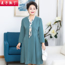 Middle aged and old women's wear Spring 2021 Lake blue XL 2XL 3XL 4XL 5XL fashion Dress easy singleton  Solid color 40-49 years old Socket thin V-neck Medium length routine M211-176 The wheat is ripe Button other Other 100% 96% and above Pure e-commerce (online only) Single breasted longuette other