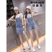 Dress Summer of 2019 XS S M L XL XXL XXXL Mid length dress Two piece set Short sleeve commute Crew neck middle-waisted Solid color Socket A-line skirt routine straps 18-24 years old Type A Cyril Korean version 91% (inclusive) - 95% (inclusive) cotton Cotton 91.6% rayon 8.4%