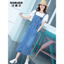 Dress Summer of 2019 One piece strap skirt S M L longuette singleton  Short sleeve commute Elastic waist Solid color Socket One pace skirt straps 18-24 years old Type H Cyril Korean version Three dimensional decoration of pocket lace to make old strap 3D SRE-BQ19128 More than 95% cotton Cotton 100%