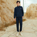 Sports suit Basic black dark blue 361° male XS S M L XL 2XL 3XL 4XL Long sleeves stand collar trousers Cardigan Spring 2021 Comprehensive training keep warm Comprehensive training series polyester fiber Pattern letter yes Two piece set