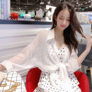 shirt White black Average size Summer of 2019 other 96% and above Long sleeves commute Medium length stand collar Single row multi button Bat sleeve Solid color 18-24 years old Straight cylinder Cat tail Korean version Other 100% Pure e-commerce (online only)