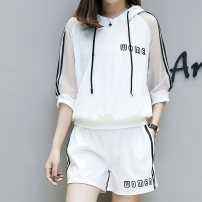 Women's large Summer 2020 White black M [90-100 Jin] l [100-120 Jin] XL [120-140 Jin] 2XL [140-160 Jin] 3XL [160-180 Jin] 4XL [180-200 Jin] Jacket / jacket Two piece set Socket Cat tail 25-29 years old Other 100% Pure e-commerce (online only)