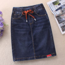 skirt Summer 2021 Middle-skirt commute High waist Denim skirt Solid color Type H 25-29 years old 51% (inclusive) - 70% (inclusive) Denim cotton Korean version