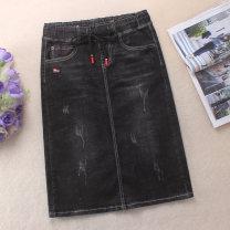 skirt Spring 2021 S,M,L,XL,2XL,3XL black Mid length dress Versatile High waist Denim skirt Solid color Type H 25-29 years old 51% (inclusive) - 70% (inclusive) Denim cotton