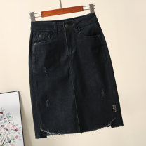 skirt Autumn 2020 S,M,L,XL,2XL black Middle-skirt commute High waist Denim skirt Solid color Type A 30-34 years old 71% (inclusive) - 80% (inclusive) Denim Other / other cotton Pockets, rags, buttons, zippers Korean version