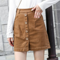 skirt Autumn of 2019 S,M,L,XL,2XL Camel Short skirt Versatile High waist A-line skirt Solid color Type A 30-34 years old 31% (inclusive) - 50% (inclusive) knitting Other / other cotton Pocket, button