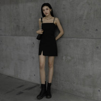 Dress Spring 2021 Black one neck, black U-neck XS S M L XL Short skirt singleton  Sleeveless High waist Solid color Socket One pace skirt routine camisole 25-29 years old Type H Xuanban backless XB-0113-1226-1 30% and below nylon Pure e-commerce (online only)
