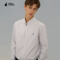 shirt Fashion City TREK&TRAVEL 165/S/39 170/M/40 175/L/41 180/XL/42 185/XXL/43 Blue yellow routine Pointed collar (regular) Long sleeves standard go to work autumn C90593894 youth Cotton 100% Business Casual 2020 stripe oxford Autumn of 2019 other cotton Embroidery More than 95%