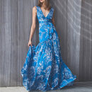 Dress Summer 2020 blue L,M,S longuette singleton  Sleeveless Sweet V-neck middle-waisted Decor Socket Big swing straps 25-29 years old Type X Other / other Print, zipper, stitching, lace up, bow More than 95% Chiffon polyester fiber Mori