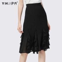 skirt Summer 2020 S M L XL XXL XXXL XXXXL black Mid length dress Versatile Natural waist Ruffle Skirt Solid color 35-39 years old BF12069 More than 95% Yihui polyester fiber Ruffle stitching Polyester 100%