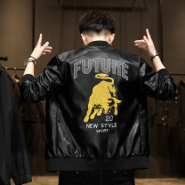 leather clothing Junefe / Junfu Youth fashion Cca-2109 black M L XL 2XL 3XL 4XL routine Imitation leather clothes Lapel Slim fit zipper spring leisure time youth Polyester 93.5% other 6.5% tide A436-CSL-666 Cloth hem Side seam pocket Arrest line No iron treatment Spring 2021 Color block
