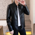 leather clothing Junefe / Junfu Youth fashion M L XL 2XL 3XL 4XL routine Imitation leather clothes Lapel Slim fit zipper autumn leisure time youth Polyester 100% tide Cloth hem Side seam pocket badge No iron treatment Autumn of 2019 Pure e-commerce (online only) Color block