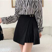 skirt Winter 2020 M,L,XL,2XL,3XL,4XL black Short skirt commute High waist A-line skirt Solid color Type A 31% (inclusive) - 50% (inclusive) polyester fiber zipper Korean version