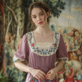 Dress Spring 2020 pale pinkish purple S code spot, M code spot, l code spot longuette singleton  elbow sleeve Sweet V-neck middle-waisted zipper Princess Dress routine Type X Face Art Embroidery, stitching Cc24350 + dress Mori