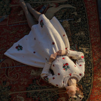 Dress Winter of 2019 white S code spot, M code spot, l code spot longuette singleton  Long sleeves Sweet Doll Collar middle-waisted Decor zipper Princess Dress Princess sleeve Type X Face Art Embroidery, zipper CC23887 Mori