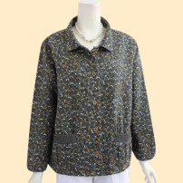 Middle aged and old women's wear Spring 2021, autumn 2021 Khaki, blue L [recommended weight 105-116 kg], XL [recommended weight 118-135 kg], 2XL [recommended weight 136-150 kg], 3XL [recommended weight 152-170 kg] leisure time Jacket / jacket easy singleton  Broken flowers 50-59 years old Cardigan