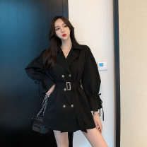 short coat Spring 2021 Average size Khaki black Long sleeves Medium length routine singleton  commute Petal sleeve Polo collar Solid color 18-24 years old Sakami 96% and above Three dimensional decoration skm210115-JD8905 other Other 100%
