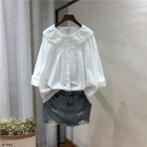 shirt white Average size Spring 2020 cotton 96% and above Long sleeves Sweet Regular Doll Collar Single row multi button routine Solid color 25-29 years old Straight cylinder Ruili