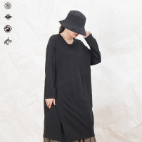 Dress Autumn 2020 black S, M longuette singleton  Long sleeves commute Crew neck Solid color other other routine Others 25-29 years old Type A Pick up the card Simplicity 51% (inclusive) - 70% (inclusive) brocade cotton