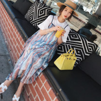 Dress Other / other Color stripe + white interior, [collection baby + small gift from collection store] M,L,XL,XXL Korean version Short sleeve have more cash than can be accounted for summer Crew neck stripe Chiffon
