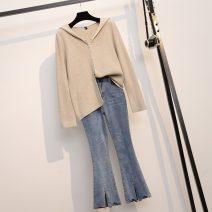 Women's large Spring 2021 Black top 9811, jeans 6951 L (90-110 kg), XL (110-130 kg), 2XL (130-150 kg), 3XL (150-170 kg), 4XL (170-190 kg) Two piece set commute moderate Korean version routine trousers