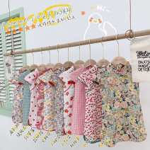 Dress Floral  , Big flower , Fan , Fortune Cat , Little safflower , strawberry , Yuya flower , Pink check , Green Grid , Little cherry female Other / other 90cm,100cm,110cm,120cm,130cm,140cm,150cm Other 100% summer leisure time Short sleeve Broken flowers cotton A-line skirt Class B Chinese Mainland
