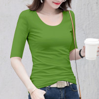 T-shirt Avocado Green Black White Red Ginger royal blue S M L XL XXL XXXL Autumn 2020 elbow sleeve Crew neck Self cultivation Regular routine commute cotton 86% (inclusive) -95% (inclusive) 25-29 years old Korean version classic Solid color Under the cotton tree Z140-019 Pure e-commerce (online only)