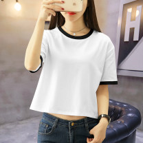 T-shirt White, black and white, royal blue, black and white S M L XL XXL Summer 2020 Short sleeve Crew neck easy have cash less than that is registered in the accounts routine commute cotton 86% (inclusive) -95% (inclusive) 25-29 years old Korean version other Color matching Under the cotton tree