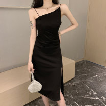 Dress Summer 2021 black Average size Mid length dress singleton  Sleeveless commute other High waist Solid color Socket other other Others 18-24 years old Qiyuwei Korean version PP469a More than 95% other Other 100% Pure e-commerce (online only)