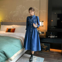 Dress Autumn 2020 Deep denim blue slim and comfortable fabric S M L XL Mid length dress singleton  Long sleeves commute Polo collar High waist Solid color other Big swing routine Others 18-24 years old Type H Ba Baoshu Korean version Pocket button BS20Q8369 More than 95% cotton Cotton 100%