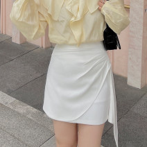 skirt Summer 2021 XS,S,M White, gray Short skirt Versatile High waist other Solid color Type H 25-29 years old 31% (inclusive) - 50% (inclusive) other cotton