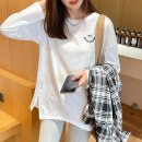 T-shirt White lake blue brick red S M L XL Spring 2021 Long sleeves Crew neck easy Medium length routine commute cotton 96% and above Korean version originality Facebook Lena LNX-576 printing Cotton 100%