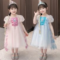 Dress Pink, blue female Other / other 90cm,100cm,110cm,120cm,130cm,140cm Other 100% summer princess Short sleeve other cotton Princess Dress HNBABY210005#03 Class B 5 years old Chinese Mainland