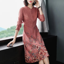 Middle aged and old women's wear Autumn of 2019 Pink Intellectuality Dress easy singleton  Big flower 40-49 years old Socket moderate Medium length Beauty of ink painting polyester Polyester 95.5% polyurethane elastic fiber (spandex) 4.5% 96% and above Pure e-commerce (online only) other