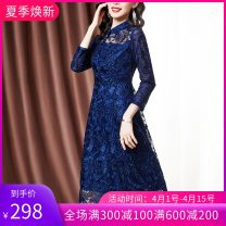 Middle aged and old women's wear Autumn 2020 Navy Blue M L XL XXL XXXL fashion Dress easy singleton  Solid color 40-49 years old Socket moderate Polo collar routine Beauty of ink painting polyester Polyester 100% 96% and above Pure e-commerce (online only) Medium length Polyester