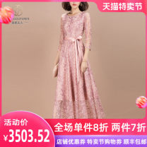 Dress Winter 2020 Pink S M L XL 2XL 3XL Mid length dress singleton  three quarter sleeve commute Crew neck middle-waisted Socket A-line skirt routine Others 30-34 years old Type A Hdfulleren / Mrs. Huang Du Ol style Lace up zipper More than 95% Lace polyester fiber Polyester 100%