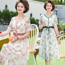 Middle aged and old women's wear Summer of 2019 XL XXL XXXL 4XL 5XL fashion Dress easy singleton  Solid color Socket thin Crew neck Medium length routine Fenxun Button other Other 100% 96% and above Pure e-commerce (online only) Chiffon