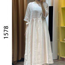 Women's large Summer 2021 white Average size Dress other easy Solid color hemp 35-39 years old 51% (inclusive) - 70% (inclusive) longuette