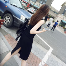 Dress Spring of 2018 XS S M L XL 2XL 3XL Mid length dress singleton  Sleeveless commute Crew neck middle-waisted Solid color Socket One pace skirt other Others 25-29 years old Type A LOOPZILLA Korean version 30% and below Lycra Lycra Pure e-commerce (online only)