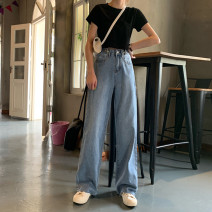 Women's large Autumn of 2019 blue singleton  commute Straight cylinder moderate Solid color Korean version Denim Three dimensional cutting YOBARLA 18-24 years old Button 81% (inclusive) - 90% (inclusive) trousers tassels Contains (9 oz) - 11 oz